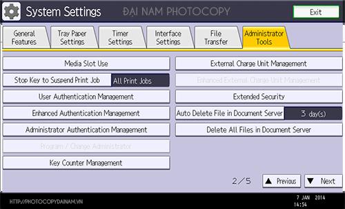 tạo user máy photocopy bước 1